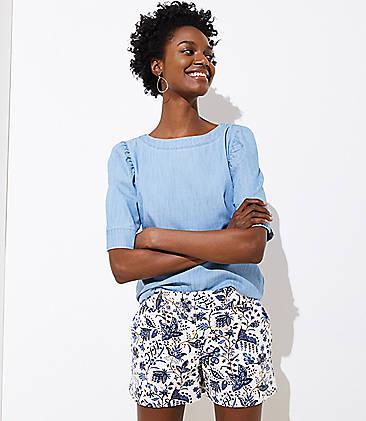 로프트 LOFT Floral Slim Shorts,Whisper White