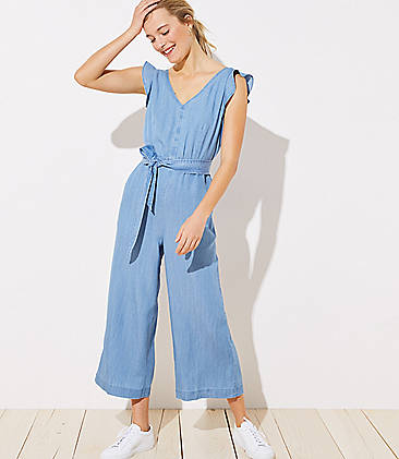 로프트 LOFT Chambray Flutter Cutout Jumpsuit,Noble Blue Chambray