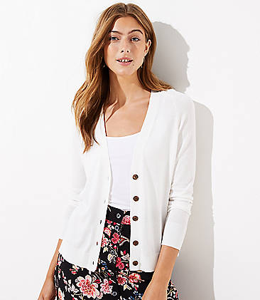 로프트 LOFT Signature V-Neck Cardigan,Whisper White