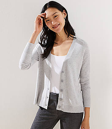 로프트 LOFT Signature V-Neck Cardigan,Silver Heather Grey
