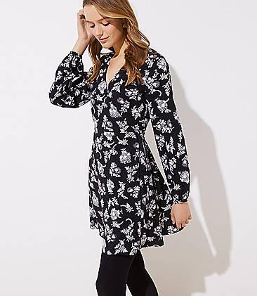 로프트 LOFT Floral Flare Wrap Dress,Black