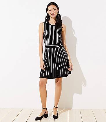 로프트 LOFT Striped Flare Sweater Dress,Black