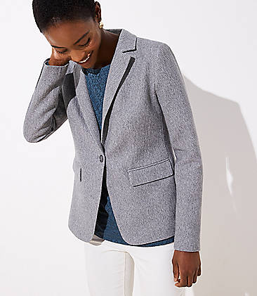 로프트 LOFT Herringbone Knit Blazer,Grey Herringbone