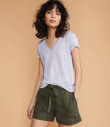 로프트 LOFT Lou & Grey Linen V-Neck Shirttail Tee