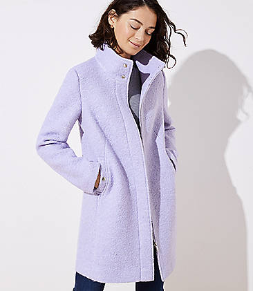 로프트 LOFT Funnel Neck Coat,Cosmic Sky Peri