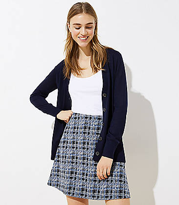 로프트 LOFT Textured Plaid Pull On Flippy Skirt,Pure Blue Sky