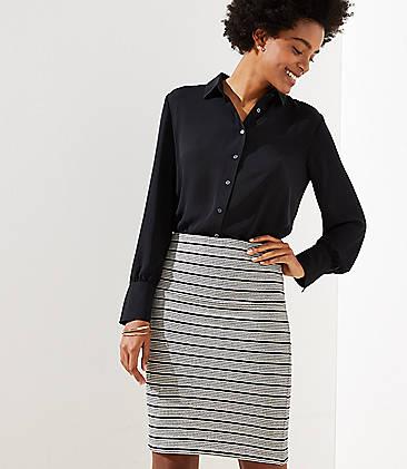로프트 LOFT Knit Pull On Pencil Skirt,Black