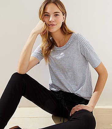 로프트 LOFT Heathered Stripe Vintage Soft Shirttail Tee,Blue Fog Heather
