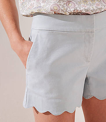 로프트 LOFT Scalloped Shorts with 4 Inch Inseam