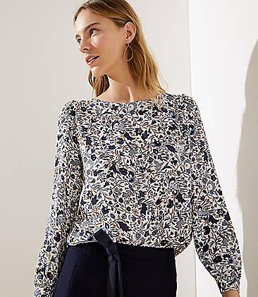 로프트 LOFT Floral Vine Shirttail Blouse,Whisper White