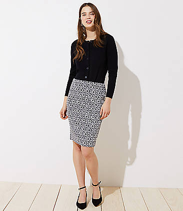 로프트 LOFT Floral Jacquard Pull On Pencil Skirt,Forever Navy