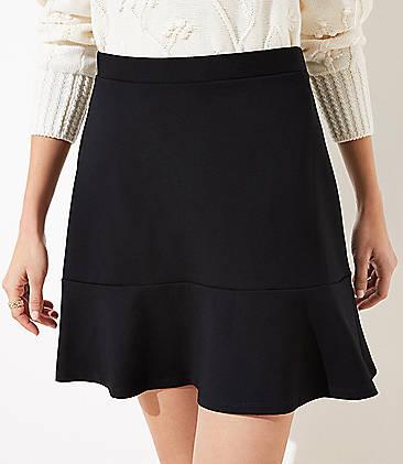 로프트 LOFT Ponte Flippy Skirt,Black