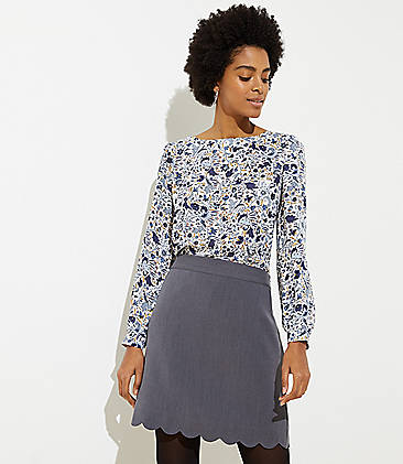 로프트 LOFT Scalloped Pocket Shift Skirt,Coastal Grey