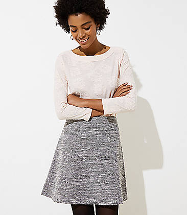 로프트 LOFT Textured Knit Flippy Skirt,Grey Ivory Combo
