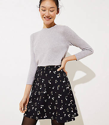 로프트 LOFT Floral Ponte Flippy Skirt,Black