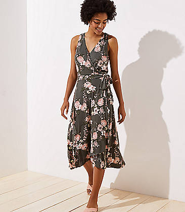 로프트 LOFT Bouquet Wrap Midi Dress,Midnight Olive