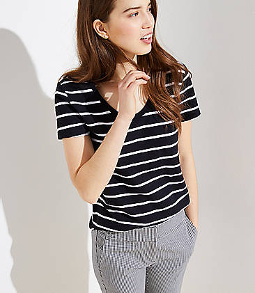 로프트 LOFT Striped Vintage Soft Tee,Black