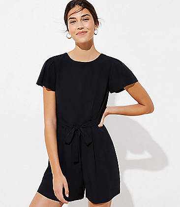 로프트 LOFT Back Cutout Romper,Black
