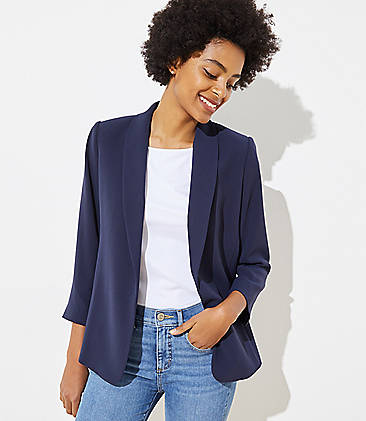 로프트 LOFT Shawl Collar Blazer,Night Sky