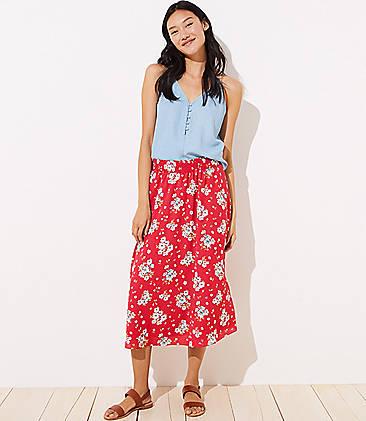 로프트 LOFT Floral Smocked Maxi Skirt,Rich Red Velvet