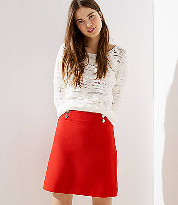 로프트 LOFT Sailor Shift Skirt,Crimson Fire