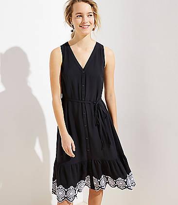 로프트 LOFT Eyelet Hem Tie Waist Dress,Black