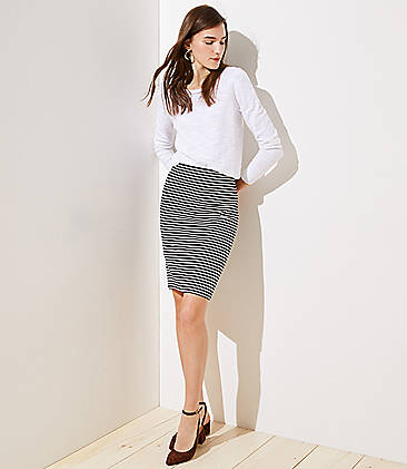로프트 LOFT Striped Pull On Pencil Skirt,Black