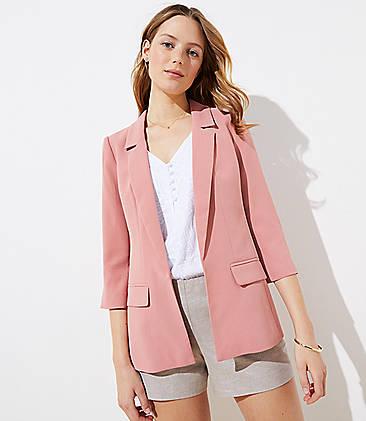 로프트 LOFT Long Open Blazer,Desert Pink