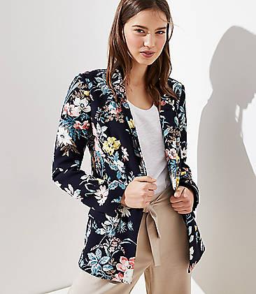 로프트 LOFT Floral Long Open Blazer,Forever Navy