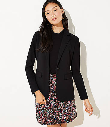로프트 LOFT Knit Modern Blazer,Black
