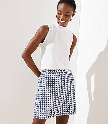 로프트 LOFT Tweed Pocket Shift Skirt,Whisper White