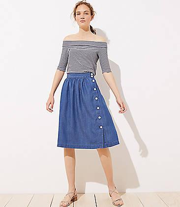 로프트 LOFT Side Button Chambray Skirt,Shadow Blue Chambray