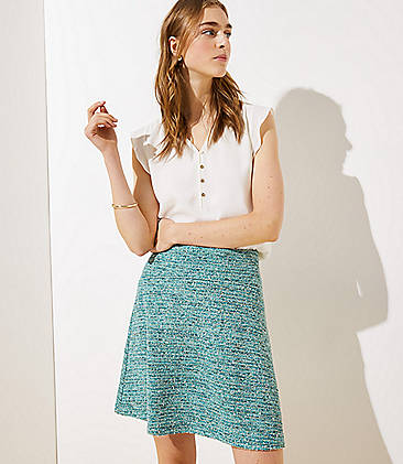로프트 LOFT Textured Knit Flippy Skirt,Tear Green