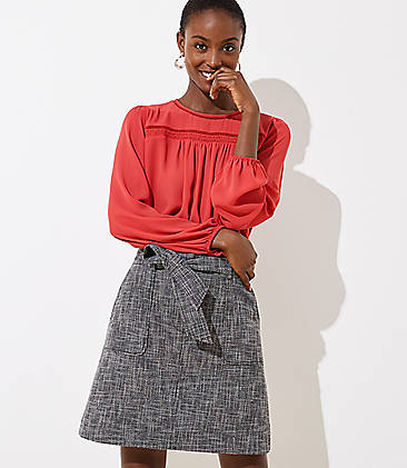 로프트 LOFT Crosshatch Tie Waist Pocket Skirt,Black