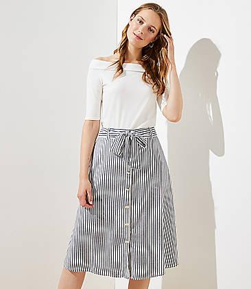 로프트 LOFT Striped Tie Waist Button Front Skirt,Whisper White