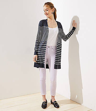 로프트 LOFT Striped Sheer Open Cardigan