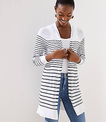로프트 LOFT Striped Sheer Open Cardigan