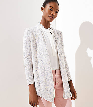 로프트 LOFT Marled Shirttail Open Cardigan,Neutral Multi