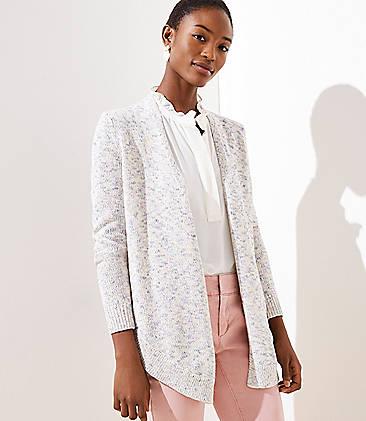 로프트 LOFT Marled Shirttail Open Cardigan,Neutral Multi