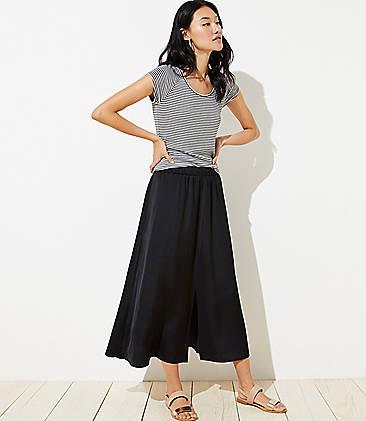 로프트 LOFT Pull On Maxi Skirt,Black
