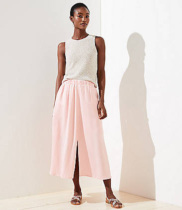 로프트 LOFT Pull On Maxi Skirt,Blush Blossom