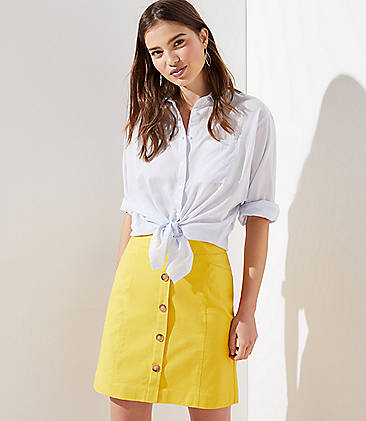 로프트 LOFT Button Shift Skirt,Sparkling Sunshine