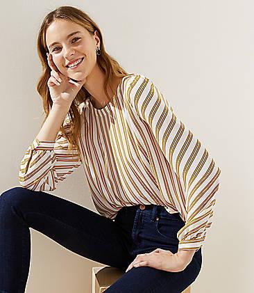 로프트 LOFT Striped Shirttail Blouse,Whisper White