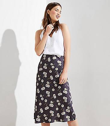 로프트 LOFT Daisy Chain Midi Skirt,Coastal Grey