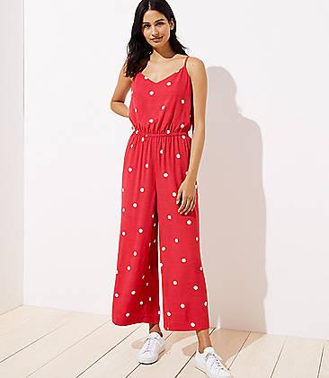 로프트 LOFT Polka Dot Wide Leg Crop Jumpsuit,Orchard Red