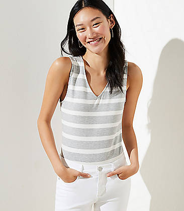 로프트 LOFT Striped Sleeveless Bodysuit,White