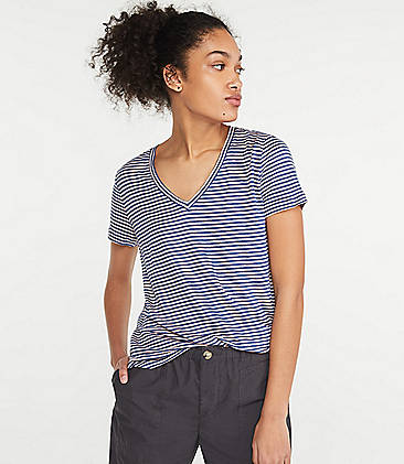 로프트 LOFT Lou & Grey Striped Linen V-Neck Shirttail Tee