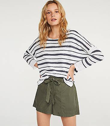 로프트 LOFT Lou & Grey Striped Dolman Sweater,White Multi