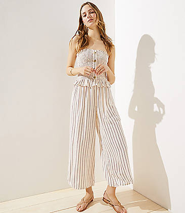 로프트 LOFT Beach Strapless Smocked Wide Leg Jumpsuit,Coconut