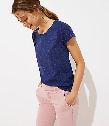 로프트 LOFT Flecked Vintage Soft Tee,Evening Blue Heather